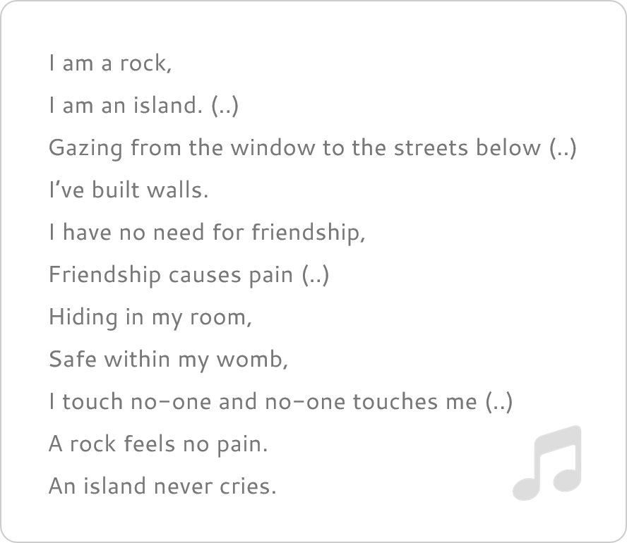 Tekst van 'I am a rock'